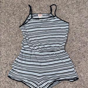 black and white striped romper